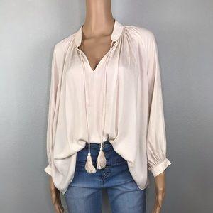 Bohemian billowy sleeves satin tassel blouse